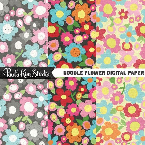 80% OFF SALE Bright Floral Pattern Scrapbook Papers Instant Digital Download