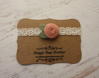 Tiny Spiral Rosette in Vintage Pink- Wool Felt Flower and Lace Headband - Newborn to Adult