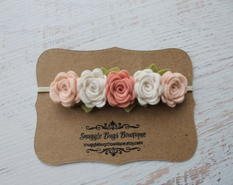 Vintage Pink, Wheat and Off White Rose Garland Headband - Wool Felt Flower Headband- Shabby Chic Wedding Flower Girl Headband