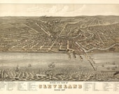 Cleveland Map - Panoramic Birds Eye View Map Print Poster