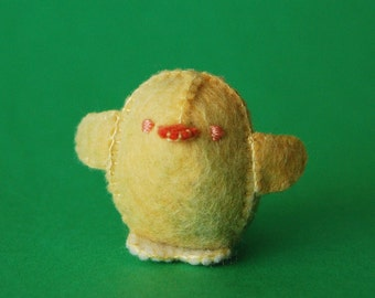 Yellow Small Felted Baby Chicken Toy -- Handmade Felt Pure Wool Unique Baby Chicken