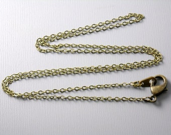 NKLC-AB-2MM-18IN - Fine Antiqued Brass Finished Chain 2mm x 1.5mm - 5 pcs