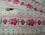 Feminine ViNtaGe Pink Flowered Embroidered Trim