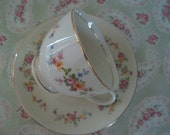 ViNtAGe Homer Laughlin Nautilus Egg Shell Spring Flowers Tea Cup and Saucer