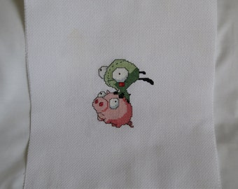 Invader Zim - Gir on Pig Cross Stitched Square