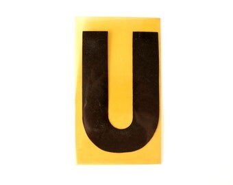 "Vintage Industrial Marquee Sign Letter ""U"", Black on Yellow Flexible Plastic (7 inches tall) - Industrial Decor, Art Assemblage Supply"