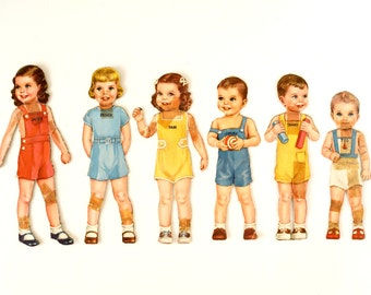 "Vintage Paper Doll Children ""Janey, Peggy, Pam, Jimmy, Tommy, and Ted"" with Clothing, 47 pieces (c.1940s) - Collectible, Paper Projects"