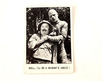 """Vintage """"You'll Die Laughing"""" Trading Card #102 by Topps (c.1973) - Creature Feature Collectible, Altered Art Card, Universal Monster Card"""
