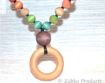 "Rainbow Baby Teething Necklace by Zúbky - Nursing Breastfeeding Babywearing Wood Jewelry ""Over the Rainbow"""