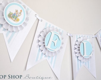 Peter Rabbit Birthday Banner, Special Occasion, name banner, nursery decor, photo prop, High chair banner
