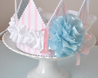 Girls Ruffled Rosette Fabric Crown, Dress up, Birthday Hat, Photo Prop