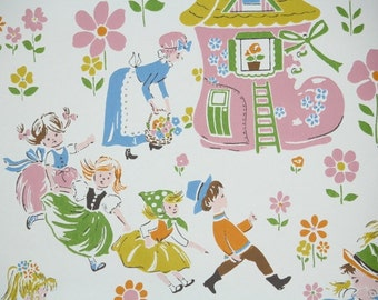 Retro Wallpaper by the Yard 70s Vintage Wallpaper - 1970s Pastel Nursery Rhyme, Old Women in Shoe, Little Boy Blue, Mary Mary Quite Contrary
