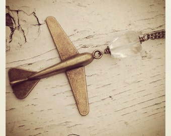 Flight Plan-Bronze Airplane Pendant with Quartz Crystal, Long Chain