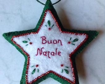 Buon Natale Italian Christmas embroidered felt star