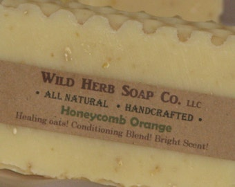 NATURAL ORANGE Essential Oil Soap Bar - Honeycomb Trim + Oatmeal - Full Sized Family Bar by Wild Herb Soap Co.