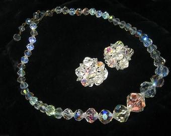 Vintage Cut Aurora Boralis Crystal Necklace & Earrings