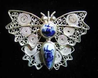 Vintage Sterling Filagree Delft Butterfly Brooch