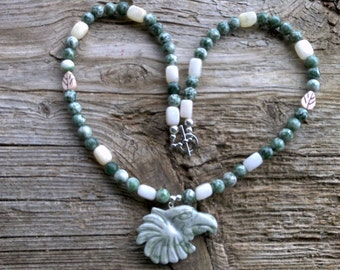 Peace jade phoenix,tree agate,quartz,beaded necklace 22 inch