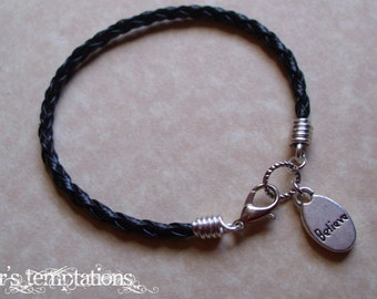 Believe -  Black Braided Leather Charm Bracelet Friendship Bracelet