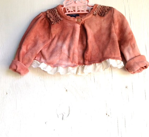RESERVED  Gypsy baby rose rusty hand dyed baby girl upcycled chaps ralph lauren lace cardigan sweater size 2