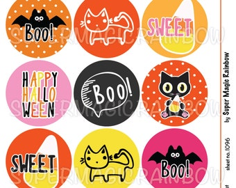Cute Happy Halloween 4x6 Digital Collage Sheet (No. 1096) 1 Inch Circles for Bottlecaps, Hair Bow Centers, & More