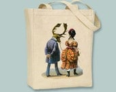 Circus Woman Walking with Moose Man Vintage Illustration Canvas Tote -- Selection of  sizes available