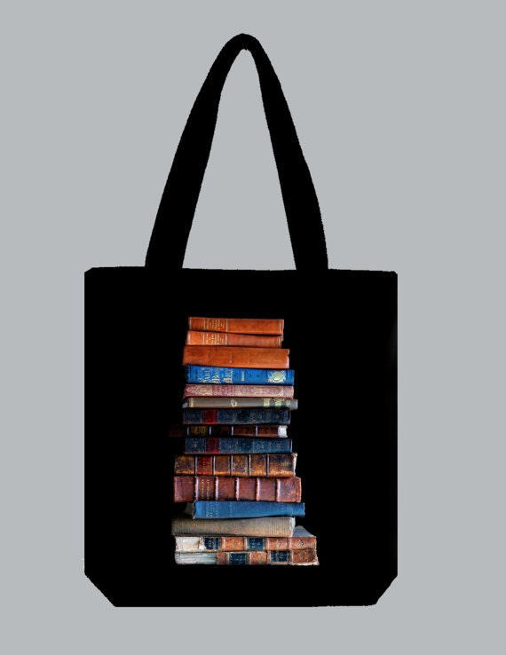 Vintage Stacked Books Image NATURAL or BLACK Canvas tote -- selection of sizes available