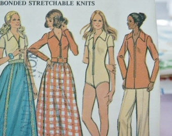 Vintage 1972 McCall's Hippie Era Boho Maxi Skirt Zippered Bodysuit or Blouse 3399 Sewing Pattern Size 14 Bust 36