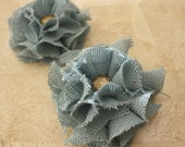 Teal Color Burlap Magnetic Tie Backs Flowers
