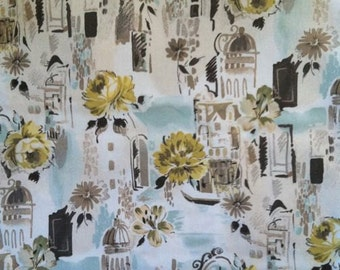 SALE One yard fabric in yellow taupe light blue brown cream Travel Europe Oasis pattern