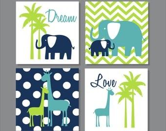 Elephants, Giraffe, Palm Tree, Lime, Children's Wall Art, Nursery Wall Art- Set of four stretched canvas
