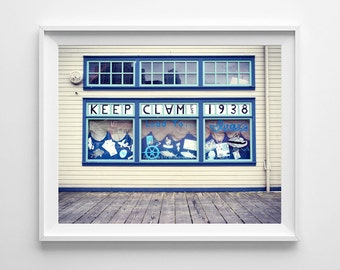 Seattle Waterfront - Ivar's Keep Clam Nautical Art - Washington State Retro Art Print - Small and Large Wall Art Prints Available