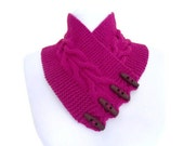Cerise pink, neckwarmers, autumn, wool, hand-knitted, fashion,  feminine, unique gifts