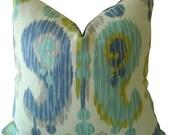 Blue Ikat Pillows - Ikat Pillows - Turquoise Ikat Pillows - Lumbar Ikat Pillows - Ikat Toss Pillows - Accent Pillows - Throw Pillows