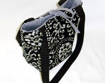 Black Batik Purse, Small Tote Bag, Handmade Handbag, Fabric Bag, Black, Gray, Teen Purse, Shoulder Bag, Fabric Handbag
