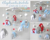 Baby Crib Mobile- Elephants Mobile-blue grey and red Mobile-custom Made Mobile