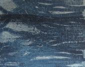 "Etching Print  . Blue Home Decor: Strata2 in Dark Blue . Print Size 14"" x 14"""