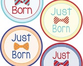 ADD ON Just Born Stickers for Baby, Just Born Stickers  - Bow Tie -  Boy Just Born Stickers -Baby Shower Gift - Baby Boy