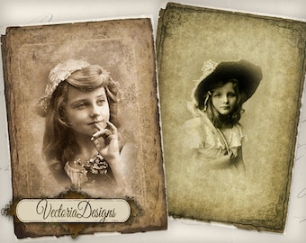 Vintage Kids atc vintage images digital background instant download printable collage sheet VD0531