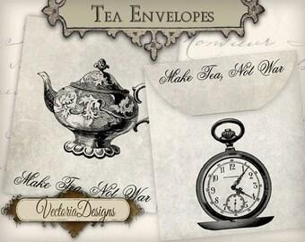 Tea Bag Envelope Make Tea Not War printable paper craft art hobby crafting scrapbooking instant download digital collage sheet - VD0607