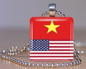Two Flags Citizenship Glass Tile Pendant Keychain or Necklace