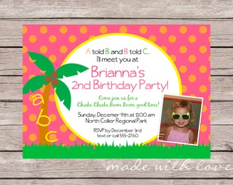 Chicka Chicka Boom Boom, A Party Invitation, personalized and printable, 5x7 with optional photo