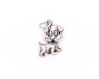 PUPPY DOG Sterling Silver Charm Pendant,  pms0066