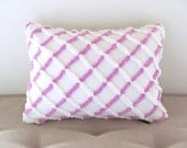 purple pillow cover LILAC LATTICE vintage chenille lavender cushion cover 12 X 16 cottage chic shabby style