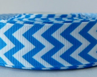 Blue 22mm Chevron Grosgrain Ribbon