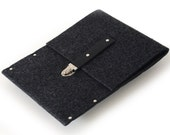 iPad Air Case, Cover, Sleeve - black felt with leather strap