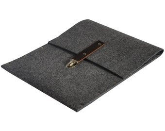 MacBook Pro 15 or Retina cover sleeve case grey synthetic felt briefcase with dark brown leather strap