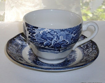 Vintage Liberty Blue Staffordshire Teacup and Saucer 1970's Historical American Revolution Scenes English Transferware China