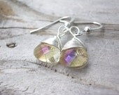 yellow Teardrop earrings-gemstone earrings-bridesmaid earrings-pale yellow- crystal-wire wrapped