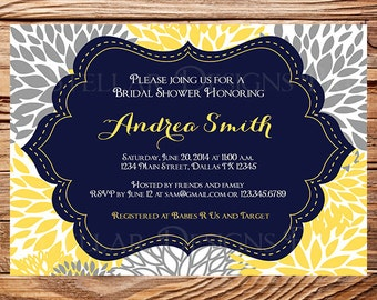 Bridal shower Invitation,Floral Wedding Shower Invitation,Yellow, Pink, Blue, Gray Flower Invite, digital, printable, 5076